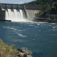 Canyon Ferry Dam on the Missouri River holds back huge Canyon Ferry Reservoir, near Helena, Montana.