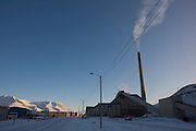 Coal power station in Arctic town of Longyearbyen, Svalbard. The northernmost settlement with more than 1,000 people on earth, and is quite well-serviced town, with an airport and university and hospital, just 1300km from the North Pole.