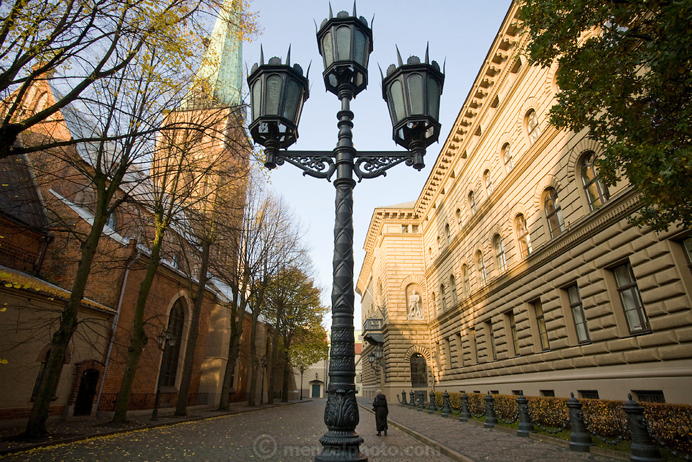 A section of a street in Old Town, Riga, Latvia. Latvian architecture dominates its cities and town.