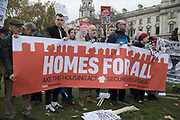 Demonstrators protest around housing policy in Westminster on Budget Day on 22nd November 2017 in London, England, United Kingdom. As the Tories deliver their Autumn Budget, protesters make their views heard outside Parliament.