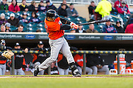 Placido Polanco #30 of the Miami Marlins bats against the Minnesota Twins in Game 2 of a split doubleheader on April 23, 2013 at Target Field in Minneapolis, Minnesota.  The Marlins defeated the Twins 8 to 5.  Photo: Ben Krause