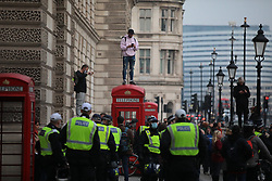 © Licensed to London News Pictures. 28/11/2020. London, UK. Anti-lockdown protesters in London during a demonstration against Coronavirus restrictions. Tiered restrictions will be reintroduced when the England-wide lockdown ends on 2 December. Photo credit: Rob Pinney/LNP