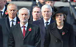 (left to right) Former Prime Minister Tony Blair, Labour leader Jeremy Corbyn, cabinet Minister Liam Fox, Former Prime Minister Sir John Major and Prime Minister Theresa May during the annual Remembrance Sunday Service at the Cenotaph memorial in Whitehall, central London, held in tribute for members of the armed forces who have died in major conflicts.