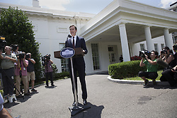 July 24, 2017 - Washington, District of Columbia, U.S. - JARED KUSHNER, son in law and advisor to U.S. President Trump makes a statement on his meeting with the Senate Intelligence Committee at The White House in Washington. (Credit Image: © Chris Kleponis/CNP via ZUMA Wire)