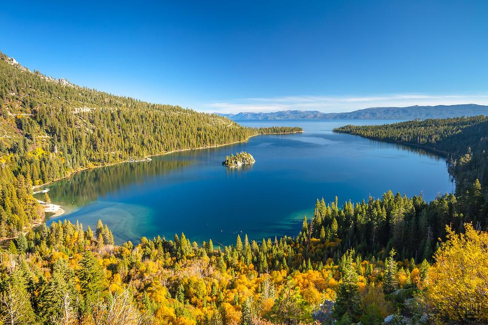 """Emerald Bay in Autumn 5"" - Photograph of yellow fall foliage above Emerald Bay, Lake Tahoe."