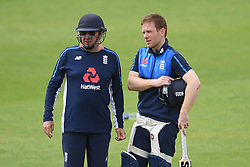 England head coach Trevor Bayliss (left) and captain Eoin Morgan during the nets session at Cardiff Wales Stadium.