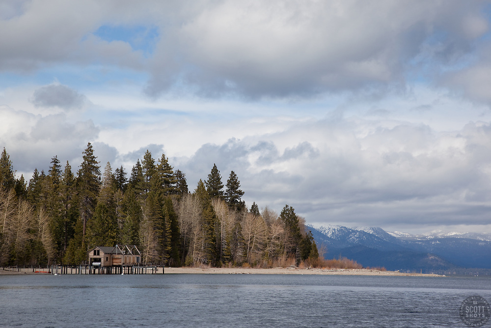 """""""Boat Dock on Lake Tahoe 8"""" - This boat dock was photographed from a small fishing boat on the West shore of Lake Tahoe."""