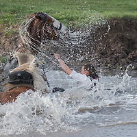 Rider falls into creek as she tries to cross it with a horse as people in period military uniforms re-enact a historic battle in Tapiobicske (some 70 km East from Budapest), Hungary on April 04, 2016. ATTILA VOLGYI
