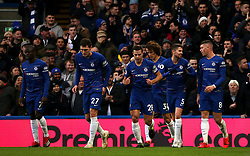Chelsea players celebrate after Gonzalo Higuain (not pictured) scores his side's first goal of the game