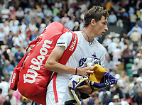 Tennis - 2019 Wimbledon Championships - Week Two, Monday (Day Seven)<br /> <br /> Men's Singles, Fourth Round: Novak Djokovic (SRB) v Ugo Humbert (FRA)<br /> <br /> Ugo Humbert on court  1 after defeat.<br /> <br /> COLORSPORT/ANDREW COWIE