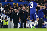 Steve McClaren, the Newcastle United shouting at his players from the touchline. Barclays Premier league match, Chelsea v Newcastle Utd at Stamford Bridge in London on Saturday 13th February 2016.<br /> pic by John Patrick Fletcher, Andrew Orchard sports photography.