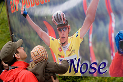 Fans of Tomaz Nose at finish line at hill Krvavec at 3rd stage of Tour de Slovenie 2009 from Lenart to Krvavec, 175 km, on June 20 2009, Slovenia. (Photo by Vid Ponikvar / Sportida)
