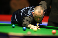 Mark Williams of Wales in action during his 1st round match against Elliot Slessor of England.  Coral Welsh Open Snooker 2017, day 2 at the Motorpoint Arena in Cardiff, South Wales on Tuesday 14th February 2017.<br /> pic by Andrew Orchard, Andrew Orchard sports photography.