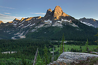 Liberty Bell Mountain and Early Winters Spires, seen from Washington Pass. North Cascades washington