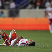 Tim Cahill, New York Red Bulls, distraught at the end of the game during the New York Red Bulls Vs Chicago Fire, Major League Soccer regular season match won 5-4 by the Chicago Fire at Red Bull Arena, Harrison, New Jersey. USA. 10th May 2014. Photo Tim Clayton