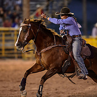 Autumnrain Chee of Cortez, Co. barrel racing at the annual 4th of July celebration and PRCA Rodeo in Window Rock, Saturday July 7.