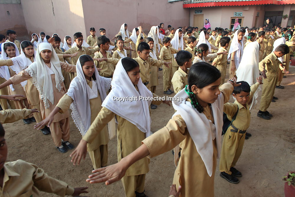 primary school in a slum in karachi, pakistan