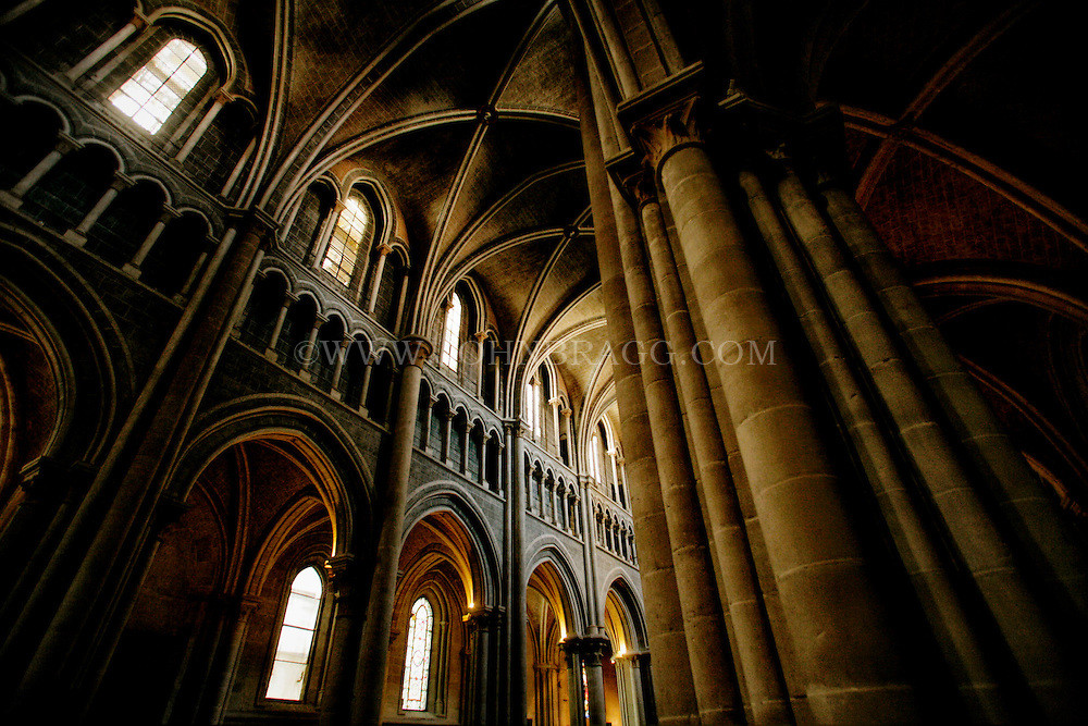 Horizontal photo of a vaulted ceiling in the The Cathedral of Notre Dame of Lausanne, Lausanne, Switzerland