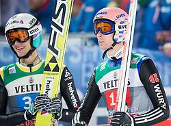 06.01.2015, Paul Ausserleitner Schanze, Bischofshofen, AUT, FIS Ski Sprung Weltcup, 63. Vierschanzentournee, Finale, im Bild Gregor Deschwanden (SUI), Michael Neumayer (GER) // Gregor Deschwanden of Switzerland, Michael Neumayer of Germany reacts after his first Jump of 63rd Four Hills Tournament of FIS Ski Jumping World Cup at the Paul Ausserleitner Schanze, Bischofshofen, Austria on 2015/01/06. EXPA Pictures © 2015, PhotoCredit: EXPA/ Johann Groder