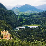 Castle Hohenschwangau and lake Schwansee in the Bavarian Alps (Germany) near the Austrian border. The 19th century palace was the childhood residence of King Ludwig II and was built by his father, King Maximilian II of Bavaria.