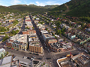 SHOT 7/1/17 6:59:17 PM - Drone photos of Park City, Utah. Park City lies east of Salt Lake City in the western state of Utah. Framed by the craggy Wasatch Range, it's bordered by the Deer Valley Resort and the huge Park City Mountain Resort, both known for their ski slopes. Utah Olympic Park, to the north, hosted the 2002 Winter Olympics and is now predominantly a training facility. In town, Main Street is lined with buildings built during a 19th-century silver mining boom. (Photo by Marc Piscotty / © 2017)