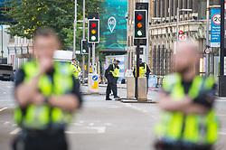 Police cordon off the area around at the scene in London Bridge and Borough Market in London following last night's terrorists incidents.