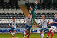 Russian Keeper Aleksandr Alekseev (C) towers above everyone during the U17 European Championships match between Scotland and Russia at Simple Digital Arena, Paisley, Scotland on 23 March 2019.