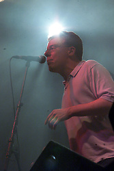 Charlie of The Proclaimers on stage two, T in the Park, Balado, Fife, 7/7/2001..©2010 Michael Schofield. All Rights Reserved.