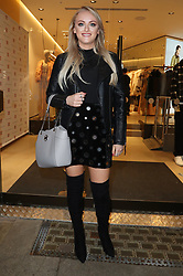 Katie McGlynn arriving for the opening of a French Connection shop in The Royal Exchange Shopping Arcade, Manchester on Wednesday evening