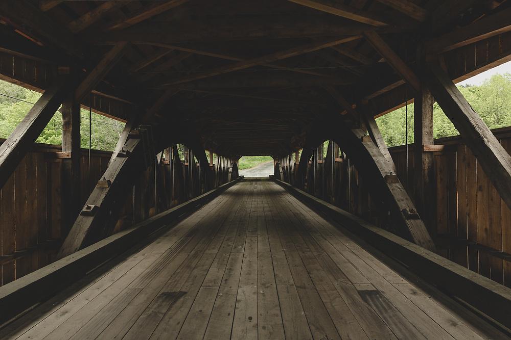 The inside of the Taftsville Covered Bridge in Vermont.