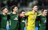 Schlussjubel v.l. Milos Veljkovic, Zlatko Junuzovic, Torwart Jiri Pavlenka (Bremen), Max Kruse<br /> Bremen, 11.02.2018, Fussball Bundesliga, SV Werder Bremen - VfL Wolfsburg 3:1<br /> Norway only
