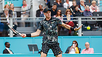 Tennis - 2019 Queen's Club Fever-Tree Championships - Day Three, Wednesday<br /> <br /> Men's Singles, First Round: Stefanos Tsitsipas (GRC) Vs. Kyle Edmund (GBR)<br /> <br /> Kyle Edmund (GBR) opens his frame as he prepares to strike the forehand on Centre Court.<br />  <br /> COLORSPORT/DANIEL BEARHAM