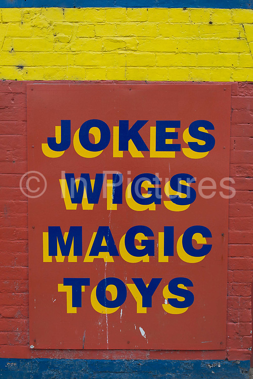 Detail of a sign outside a seaside trinket shop, on 14th July 2017, at Scarborough, North Yorkshire, England.