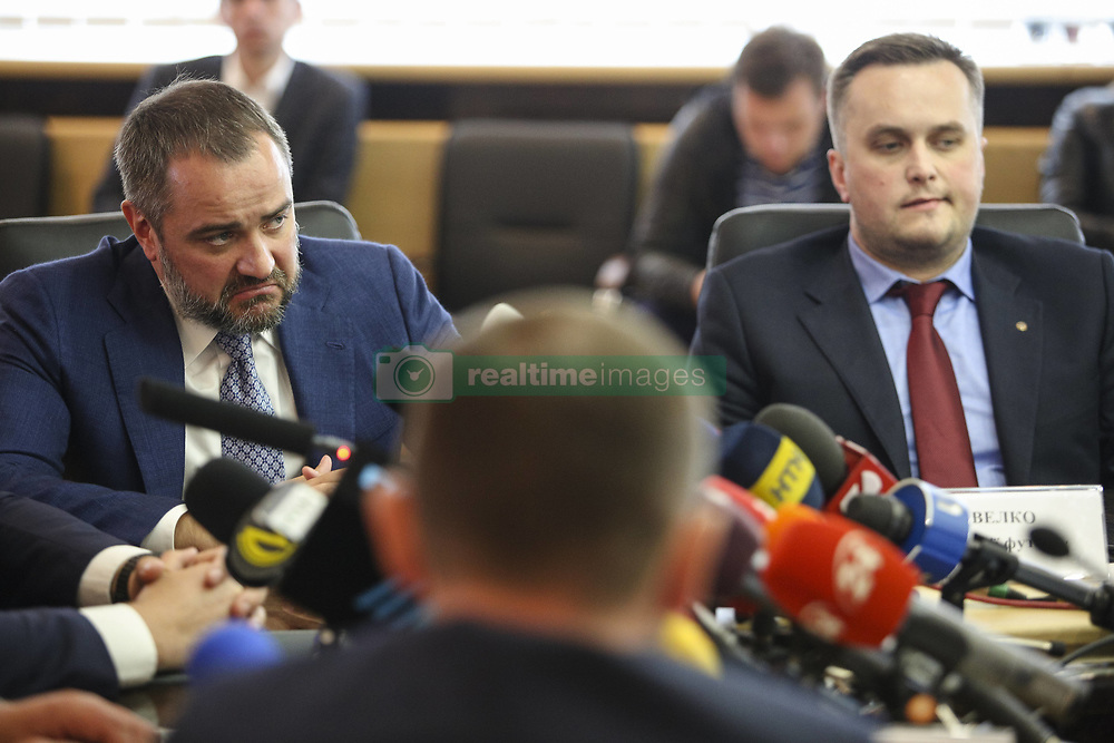 May 22, 2018 - Kiev, Ukraine - President of Football Federation of Ukraine Andriy Pavelko (L) and the First Vice President of Football Federation of Ukraine Nazar Kholodnytsky (R)  talk to media during the press conference in Kyiv, Ukraine, May 22, 2018. Ukrainian police in cooperation with Specialized Anti-Corruption Prosecutor's Office (SAPO) investigate the case on match-fixing by referees, FC's presidents and top management of National Football Federation. (Credit Image: © Sergii Kharchenko/NurPhoto via ZUMA Press)