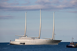 Russian billionaire Andrey Igorevich Melnichenko's 'Sailing Yacht A' ancored in front of Larvotto beach This superyacht is the world's biggest sailing ship, it misures 300ft high, has eight floors and an underwater observation room. Monaco on june 8th, 2018. Photo by Marco Piovanotto/ABACAPRESS.COM