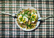 A egg and lentils dish proposed to the traveler in Pamiri houses. Khorog area, Tajikistan.