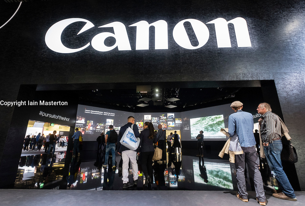 Canon stand at Photokina trade fair in Cologne, Germany , 2016