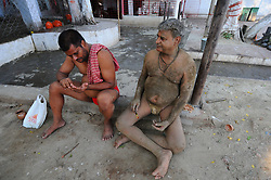 June 7, 2017 - Kolkata, India - Wrestlers exercise at a traditional Indian wrestling training center on the banks of the river Ganges ahead of the Bengal mud wrestling championships in India ,June 07,2017. (Credit Image: © Debajyoti Chakraborty/NurPhoto via ZUMA Press)
