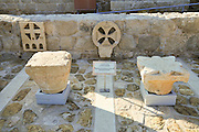 Israel, West Bank, The Good Samaritan Museum houses a collection of mosaics from the Holyland. Byzantine capitals and windows