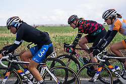 Mieke Kröger (CANYON//SRAM) in the front group at Dwars door de Westhoek 2016. A 127km road race starting and finishing in Boezinge, Belgium on 24th April 2016.