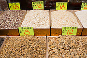 Dried goods including seafood and nuts in shop in Wing Lok Street, Sheung Wan, Hong Kong, China