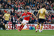 Middlesbrough midfielder Stewart Downing (19) closes Nottingham Forest defender Danny Fox (4) down during the EFL Sky Bet Championship match between Middlesbrough and Nottingham Forest at the Riverside Stadium, Middlesbrough, England on 6 October 2018.