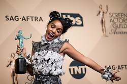 January 29, 2017 - Los Angeles, California, United States - JANELLE MONAE  won Outstanding Performance by a Cast in a Motion Picture as part of the cast ''Hidden Figures'' during the 23rd Annual Screen Actors Guild Awards  at The Shrine Expo Hall. (Credit Image: © Watchara Phomicinda/Los Angeles Daily News via ZUMA Wire)
