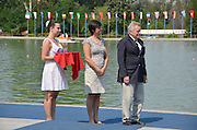 Plovdiv BULGARIA. ..presentation Party left Medal Holder centre, Bulgarian Olympic Sculler. Rumyama NEYKOVA, Right: FISA. President and IOC. Council Member Denis OSWALD. ..2012 FISA Junior and Non Olympic . Rowing Championships, Plovdiv Rowing Course.     11:54:26  Sunday  19/08/2012   [Mandatory Credit Peter Spurrier: Intersport Images]...