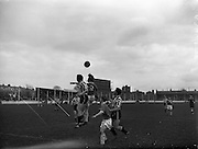 27/03/1960<br /> 03/27/1960<br /> 27 March 1960<br /> Soccer, League of Ireland: Limerick v Transport at Harold's Cross, Dublin. O'Reilly (Limerick) No.9 wins this header against Transport's Conray, watched by Wallace (Limerick) and Doyle (Transport).