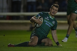 November 3, 2018 - Galway, Ireland - Tom Farrell of Connacht scores a try during the Guinness PRO14 match between Connacht Rugby and Dragons at the Sportsground in Galway, Ireland on November 3, 2018  (Credit Image: © Andrew Surma/NurPhoto via ZUMA Press)