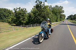Clyde Crouch riding his 1929 Henderson KJ during Stage 5 of the Motorcycle Cannonball Cross-Country Endurance Run, which on this day ran from Clarksville, TN to Cape Girardeau, MO., USA. Tuesday, September 9, 2014.  Photography ©2014 Michael Lichter.