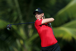 March 3, 2019 - Singapore - Amy Olson of the United States tees off on the 2nd hole during the final round of the Women's World Championship at the Tanjong Course, Sentosa Golf Club. (Credit Image: © Paul Miller/ZUMA Wire)