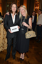 Left to right, MINNIE CECIL and CAROLE WHITE at a party to celebrate the publication of 'Have I Said Too Much' by Carole White held at the Cafe Royal, Regents Street, London on 18th February 2015.