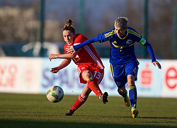 ZENICA, BOSNIA AND HERZEGOVINA - Tuesday, November 28, 2017: Wales' Rachel Rowe and Bosnia and Herzegovina's captain Amira Spahić during the FIFA Women's World Cup 2019 Qualifying Round Group 1 match between Bosnia and Herzegovina and Wales at the FF BH Football Training Centre. (Pic by David Rawcliffe/Propaganda)